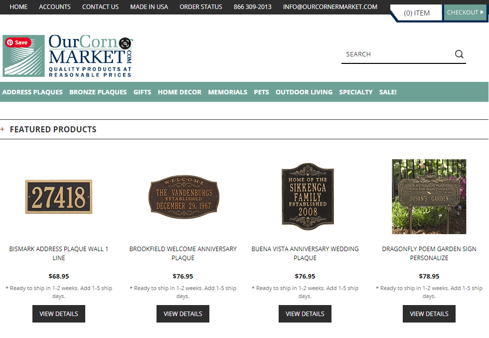 Screenshot of OurCornerMarket.com