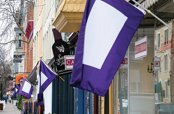 The town of Hudson, NY flies purple flags of hope.