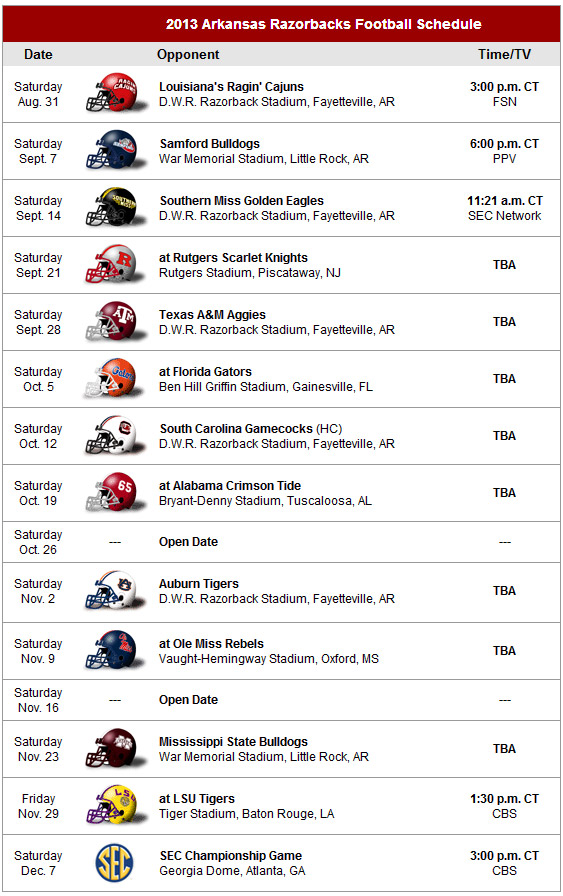 Razorbacks Schedule 2013