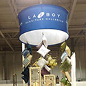 Round display for Lazyboy furniture at a tradeshow