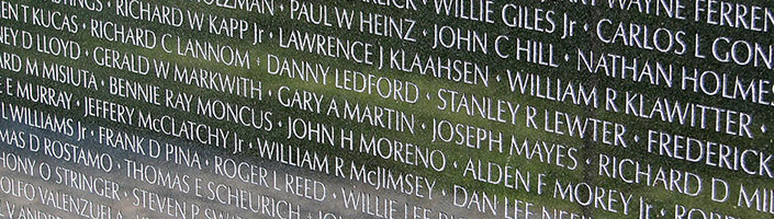 Names from the Vietnam Veterans Memorial in Washington, D.C.