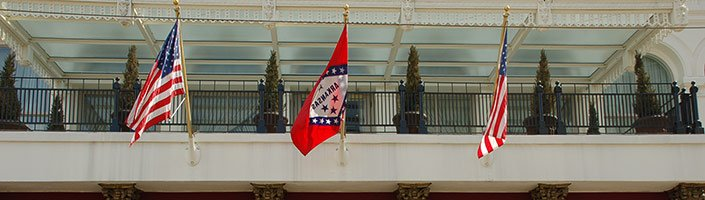 Wall Mount Flagpoles at the Capital Hotel in Little Rock, AR.