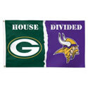 Minnesota Vikings and Green Bay Packers House Divided Flag, WINC09508115